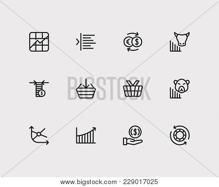 Finance Icons Set. Rally And Finance Icons With Margin, Stock Symbol And Invest Money. Set Of Elemen