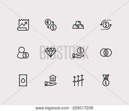 Investment icons set. Exchange and investment icons with petroleum, mutual funds and winner. Set of elements including salary for web app logo UI design. poster