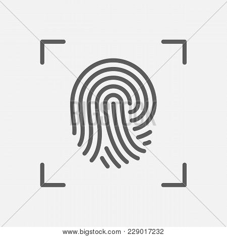 Fingerprint Icon Line Symbol. Isolated  Illustration Of  Icon Sign Concept For Your Web Site Mobile