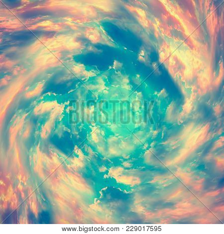 Spiral Tunnel From Clouds. Bright Colorful Fairy Tale Square Background. Abstract Texture Heaven Con