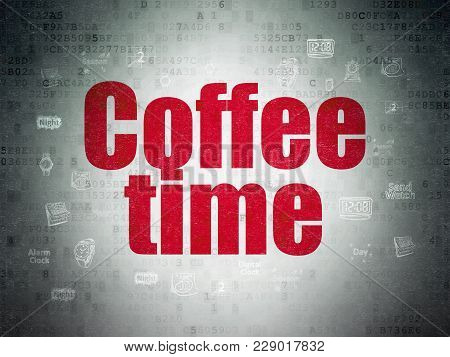 Time Concept: Painted Red Text Coffee Time On Digital Data Paper Background With  Hand Drawing Time