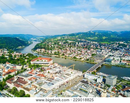 Linz City Centre And Danube River Aerial Panoramic View In Austria. Linz Is The Third Largest City O