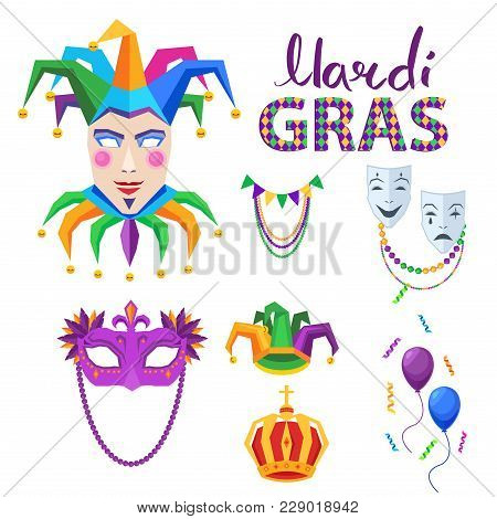 Magri gras carnival attributes set. Crown, jester, colombina and theatrical masks flat vector isolated icons. Masquerade clothing  illustration for costumed party or festival invitation, banner poster