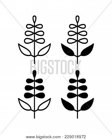 Vector Illustration Of Sage With Flower Isolated On White Background. Icon Set.
