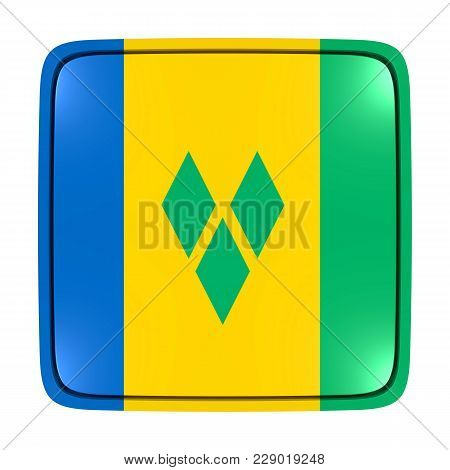 3d Rendering Of A Saint Vincent And The Grenadines Flag Icon. Isolated On White Background.