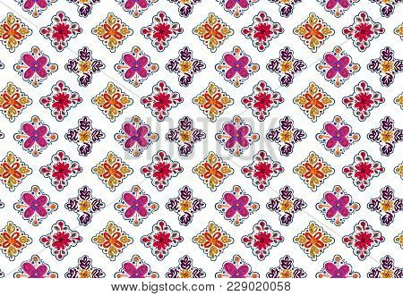 Decorative Seamless Folk Pattern With Square Elements Isolated On White. Eastern European Print.