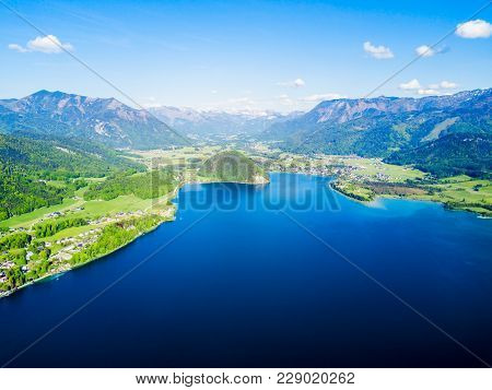 Wolfgangsee Lake And St. Wolfgang Im Salzkammergut Town Aerial Panoramic View In Austria