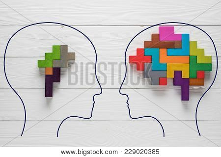 Genetic Brain Disorder. Health And Ailing Brain. Mental Health And Mental Disorder Concept. Heads Wi