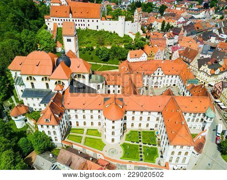 Fussen Abbey Or St. Mang Abbey Aerial Panoramic View. Kloster Sankt Mang Is A Former Benedictine Mon