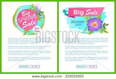 Big Spring Sale Discounts Offer Web Posters Set With Springtime Lilac Flowers Vector On Webpage With