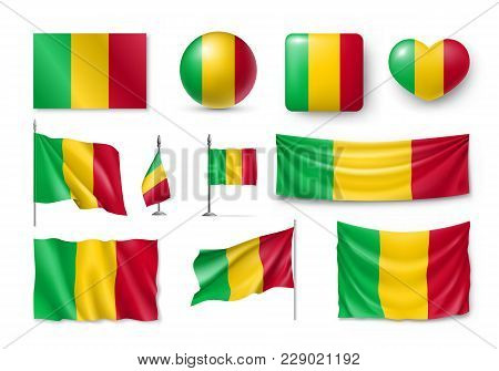 Set Mali Flags, Banners, Banners, Symbols, Realistic Icon. Vector Illustration Of Collection Of Nati