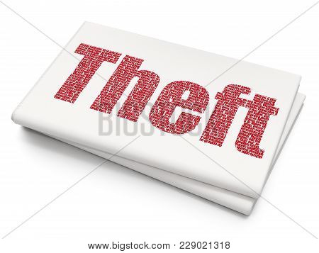 Protection Concept: Pixelated Red Text Theft On Blank Newspaper Background, 3d Rendering