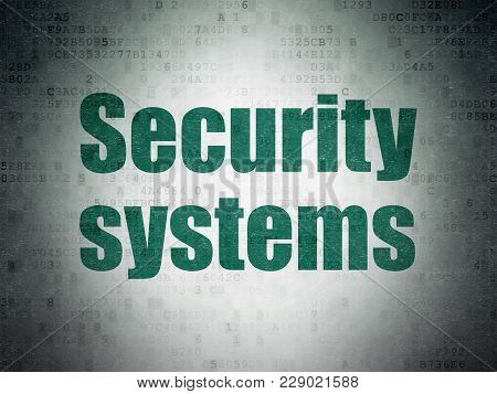 Protection Concept: Painted Green Word Security Systems On Digital Data Paper Background