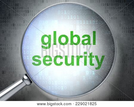 Security Concept: Magnifying Optical Glass With Words Global Security On Digital Background, 3d Rend