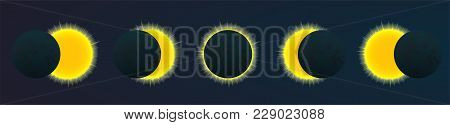 Phases Of Total Solar Eclipse, Vector Illustration