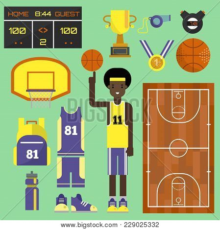 Basketball Player Sport Vector Elements Professional Set. Game Competition Basketball Team Recreatio