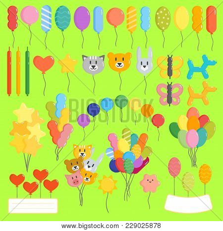 Color Glossy Happy Birthday Vector Balloons Illustration. Round Entertainment Holiday Festival Happy