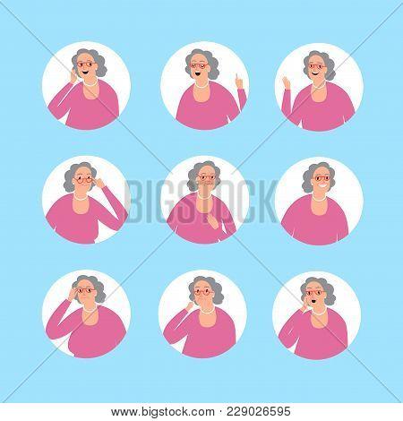 Lovely Cartoon Grandmother Portrait. Set Of Different Emotions. Vector Illustration For Your Design.
