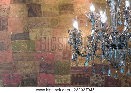 Luxurious Chandelier Foreground, Colorful Wallpaper Background, Great.