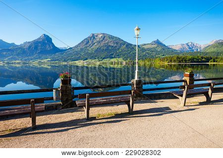 Embankment Promenade At The Wolfgangsee Lake In Austria. Wolfgangsee Is One Of The Best Known Lakes