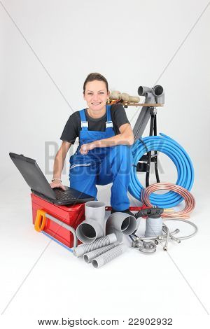 portrait of a female plumber