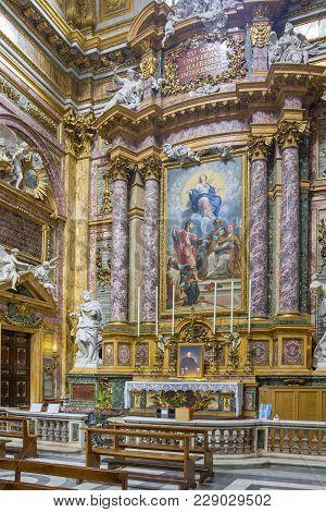 Rome, Italy - June 17, 2014: Cupola Of Side Nave In Basilica Dei Santi Ambrogio E Carlo Al Corso By