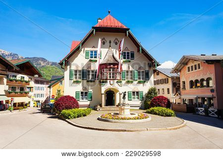 St. Gilgen Rathaus Or Town Hall Building In The Centre Of St Gilgen Village, Salzkammergut Region Of