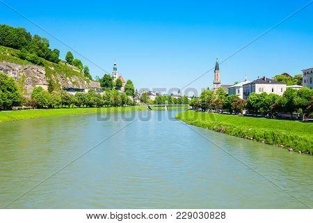 Salzach River In Salzburg, Austria. Salzach River Flow Eventually Joins The Danube River.
