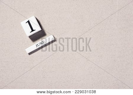 June 1St. Image Of June 1 Wooden Color Calendar On White Background. First Summer Day. Copy Space Fo