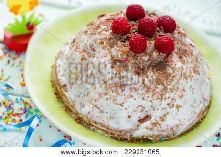 Traditional Easter Quark Dessert Cheese Paska Decorated With Raspberry And Chocolate