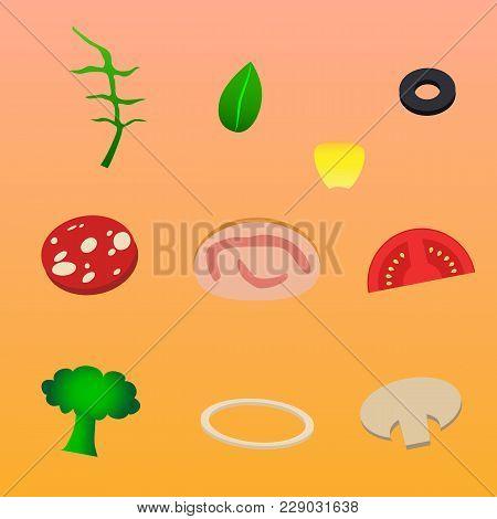 Ingredients For Pizza Onion Mushroom Ham Rukola Corn Olive
