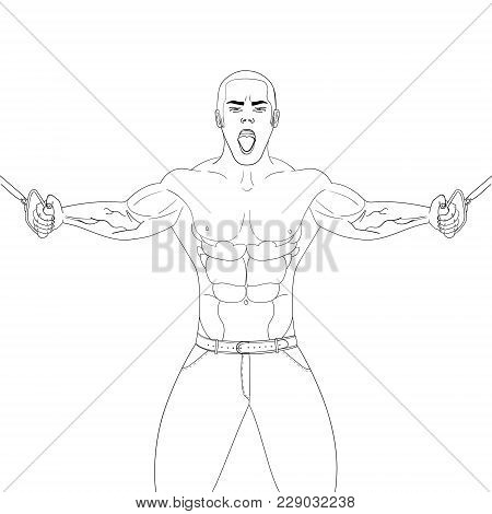 Bodybuilder In The Gym. Athlete Pulls Weight.vector Illustration Object On A White Background. Color