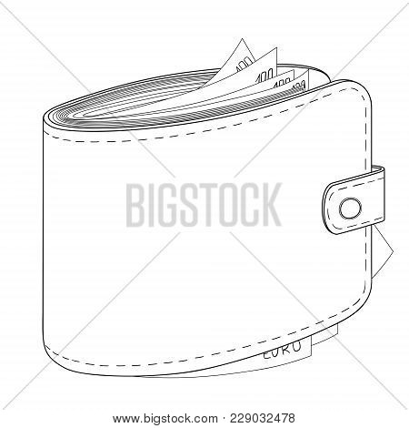 Mans Purse Full Of Money. Euro Income, Wealth. Vector Illustration Object On A White Background. Col