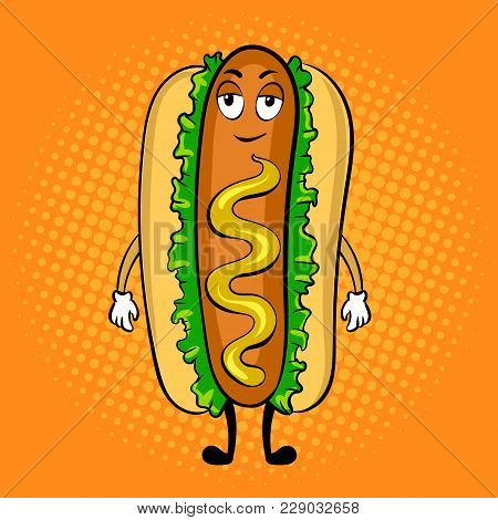 Hot Dog Cartoon Character Pop Art Retro Vector Illustration. Cartoon Food Character. Color Backgroun