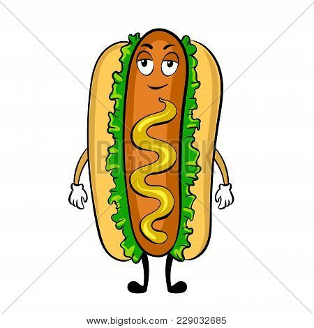Hot Dog Cartoon Character Pop Art Retro Vector Illustration. Cartoon Food Character. Isolated Image