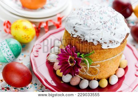 Easter Bread Kulich Paska, Traditional Easter Food Composition