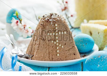 Russian Orthodox Easter Quark Dessert Decorated In Traditional Style