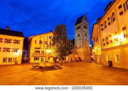 St. Hippolytes Church Tower Is Situated In Zell Am See Old Town. It Is The Administrative Capital In