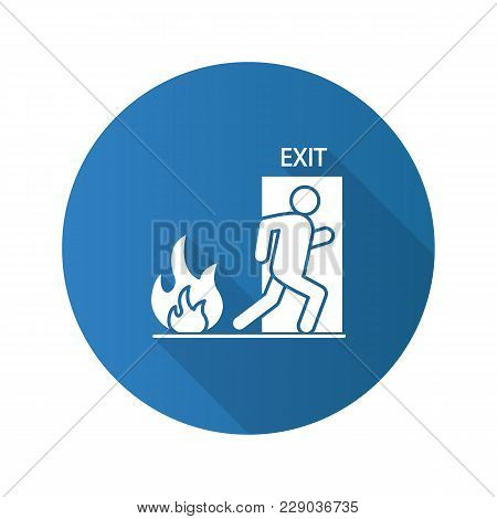 Fire Emergency Flat Design Long Shadow Glyph Icon. Exit Door With Human. Evacuation Plan. Vector Sil
