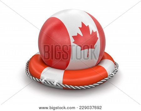 3d Illustration. Ball With Canadian Flag On Lifebuoy. Image With Clipping Path