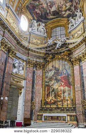 Rome, Italy - June 17, 2014: Cupola Of Centra Nave In Basilica Dei Santi Ambrogio E Carlo Al Corso B