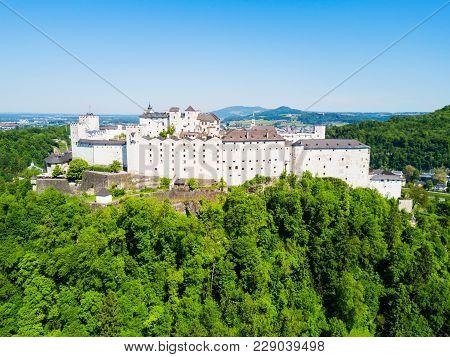 Salzburg City Centre Aerial Panoramic View, Austria. Salzburg Literally Salt Fortress Or Salt Castle