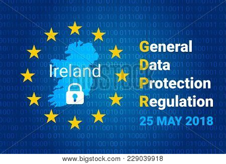Gdpr - General Data Protection Regulation. Map Of Ireland, Eu Flag. Vector Illustration