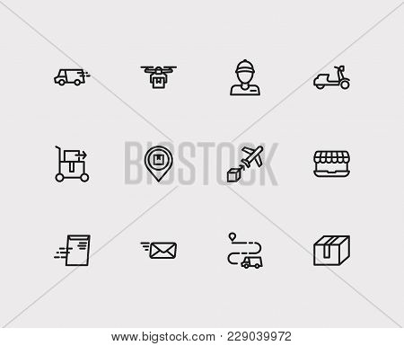Logistics Icons Set With Email Delivery, Airplane Delivery And Delivery Service Box Elements. Set Of