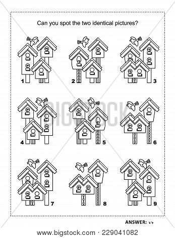 Iq Training Find The Two Identical Pictures With Spring Birdhouses Visual Puzzle And Coloring Page.