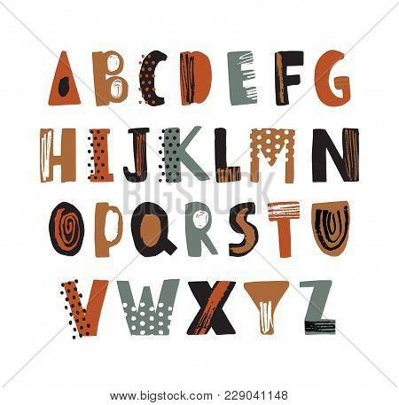 Trendy Latin Font Or Decorative English Alphabet Hand Drawn On White Background. Creative Textured L
