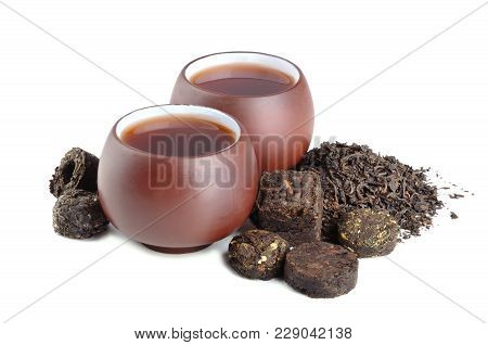 Various Black Pu-erh Tea On A White Background