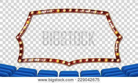 Retro Cinema Vector. Theater Curtain, Frame Light Bulbs. Blue Silk Textile. Shining Retro Light Bann
