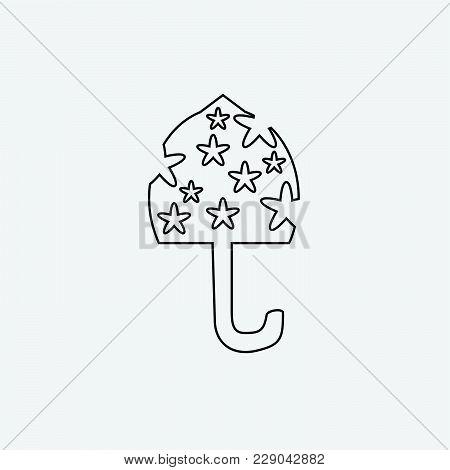 Black Umbrella Line Icon. Light Black Umbrella Isolated On Grey Background. Umbrella In Cartoon Styl