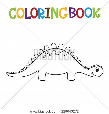 Cute Cartoon Dino Coloring Book. Vector Illustration